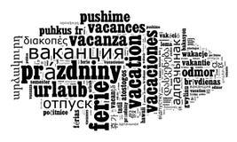 Vacaciones de la palabra en otros idiomas Imagen de archivo