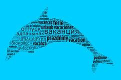 Vacaciones de la palabra en otros idiomas Fotografía de archivo libre de regalías