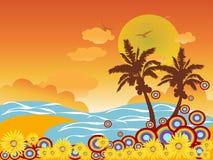 Vacaciones de la playa de la palmera Ilustración del Vector