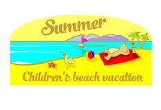 Vacaciones de la playa de los niños Imagenes de archivo