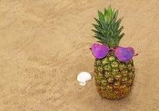 Vacaciones de la playa del fondo con las gafas de sol que llevan de una piña imagenes de archivo