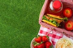 Vacaciones de verano, comida campestre en el parque en la hierba Cesta, mantel, comida sana, comida sana y accesorios, visión sup imagen de archivo