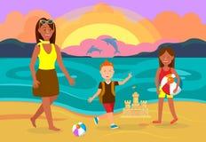 Vacaciones de verano con el ejemplo del vector de la familia libre illustration