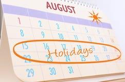 Vacaciones de verano de las hojas de operación (planning) Fotografía de archivo libre de regalías