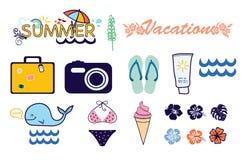 Vacaciones de verano de los iconos Fotos de archivo libres de regalías