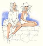 Vacaciones de verano - ejemplo dibujado mano original Imagen de archivo libre de regalías