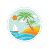 Vacaciones de verano - el logotipo creativo firma adentro estilo plano del diseño Foto de archivo libre de regalías