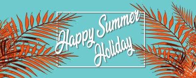Vacaciones de verano felices Capítulo el fondo tropical con las palmeras imágenes de archivo libres de regalías
