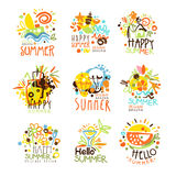 Vacaciones de verano felices Sunny Colorful Graphic Design Template Logo Set, plantillas dibujadas mano del vector Fotos de archivo libres de regalías