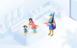 Vacaciones de verano de la familia en vector isométrico del centro turístico ilustración del vector