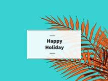 Vacaciones de verano de un fondo abstracto con las hojas de palma imagenes de archivo