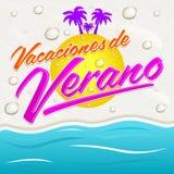Vacaciones del Verano -暑假西班牙语发短信 库存照片