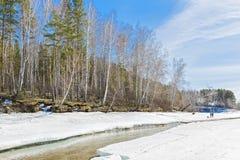 Vacaciones en el río de la primavera Siberia, Rusia Foto de archivo libre de regalías