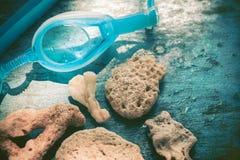 Vacaciones en un concepto de la playa Fondo de los corales del océano con los vidrios que se zambullen para bucear Fotografía de archivo libre de regalías