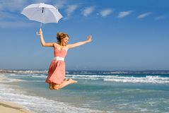Vacaciones felices de la playa del verano Fotos de archivo libres de regalías