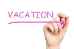 Vacaciones, marcador rosado Fotografía de archivo libre de regalías