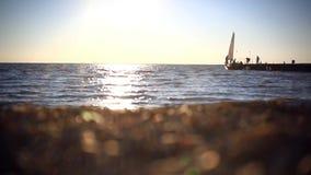 Vacaciones, viaje y concepto del mar Barcos amarrados a metrajes