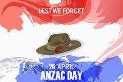 Vacances commémoratives d'anniversaire de pavots d'Anzac Day De peur que nous oubliions Affiche ou greeti de jour de souvenir de  Images stock