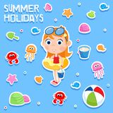 Vacances d'été - échouez les éléments de partie - autocollant adorable Images stock