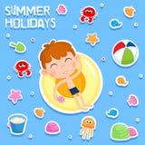 Vacances d'été - échouez les éléments de partie - autocollant adorable Photo stock