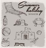 Vacances d'été avec le vecteur de croquis de vintage Photos stock