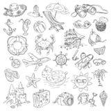 Vacances d'été de dessin de dessin à main levée Photos stock