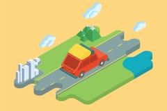 Vacances d'été de route de voiture Art isométrique plat Image libre de droits