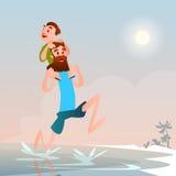 Vacances d'été de vacances de bord de la mer de plage de With Son On de père Photos libres de droits