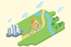 Vacances d'été de voie de bicyclette Art isométrique plat Photos libres de droits
