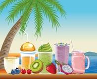 Vacances d'été et bandes dessinées de plage illustration stock