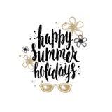Vacances d'été et illustration tirée par la main de vacances Photos libres de droits