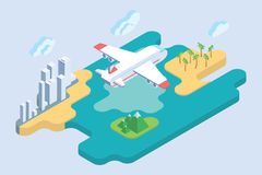 Vacances d'été Illustration de vecteur de voyage d'avion de ligne Photos stock