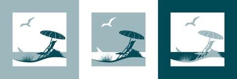 Vacances d'été par le symbole de vecteur de mer Image stock