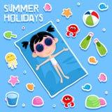 Vacances d'été - partie de plage - ensemble adorable d'autocollant Images libres de droits
