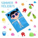 Vacances d'été - partie de plage - ensemble adorable d'autocollant Photographie stock