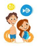 Vacances d'été saines de fille de garçon de deux de sourire heureux childs d'enfants illustration stock