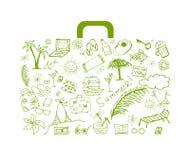 Vacances d'été, valise pour votre conception Image libre de droits