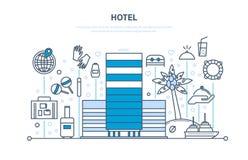 Vacances d'été, voyage Hôtel, réservation de chambre, extérieur, intérieur du bâtiment Photos stock