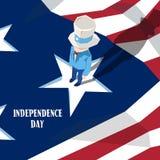 Vacances d'Américain de Jour de la Déclaration d'Indépendance d'oncle Sam United States Flag Happy Image libre de droits