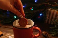 Vacances d'hiver avec le latte et les biscuits Photo stock