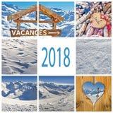 vacances d'hiver 2018 en collage de Frances Photo stock