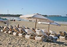 Vacances dans la baie de Cabarete, côte d'océan, des Caraïbes Photo stock