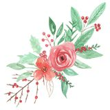 Vacances de Berry Holly Leaf Leaves Christmas Bouquet Arrangemnet de gui peintes par aquarelle de fête Photos libres de droits