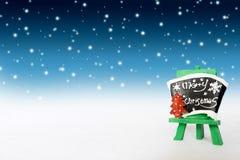 Vacances de décoration de Noël avec Santa Claus et le bonhomme de neige sur le sno Photo libre de droits