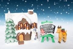 Vacances de décoration de Noël avec Santa Claus et le bonhomme de neige sur le sno Images stock