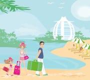Vacances de famille dans les tropiques illustration de vecteur
