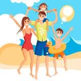 Vacances de famille heureuses ensemble sur la plage, illustration de vecteur illustration de vecteur