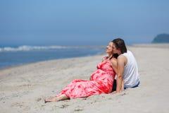 Vacances de famille par la mer Photographie stock