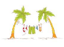 Vacances de famille sur des tropiques illustration de vecteur