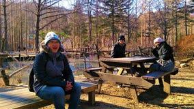 Vacances de famille sur Nami Island, Corée du Sud Photo libre de droits